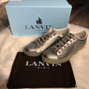 Lanvin Gray Silver Reflective Low Top Sneakers 10